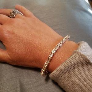 Sterling White Topaz Line Bracelet